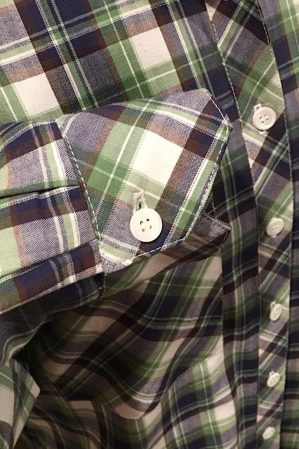Mood Fabrics' plaid flannel Archer shirts - cuff
