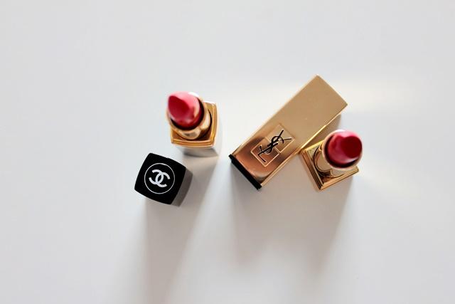 chanel coco lippenstif #440 arthur, yves saint laurent rouge pur couture lippenstift #1 le rouge