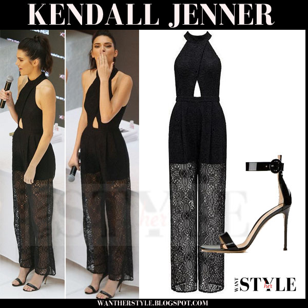7d36f51bb9 Kendall Jenner in black lace leg forever new jumpsuit what she wore outfit