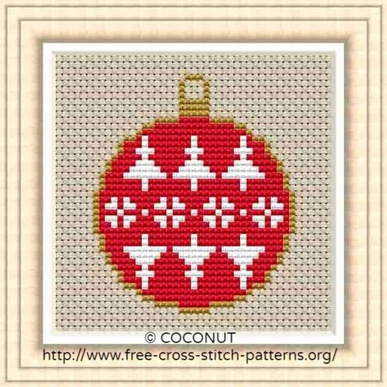 Free Printable Christmas Ornament Cross Stitch Patterns.Mini Christmas Ornament 5 Free And Easy Printable Cross