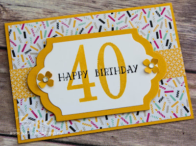 Yellow Happy 40th Birthday Card - get the details and the products here