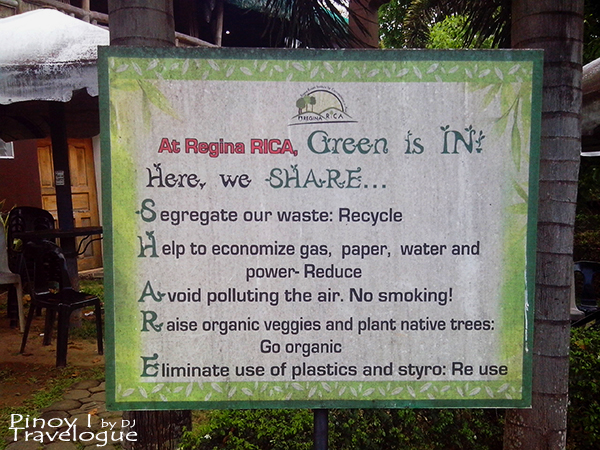 Signage regarding Regina RICA's environmental effort