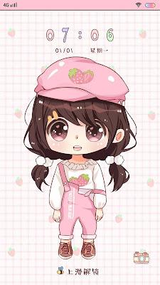 Cute Strawberry Girl Theme itz For Vivo