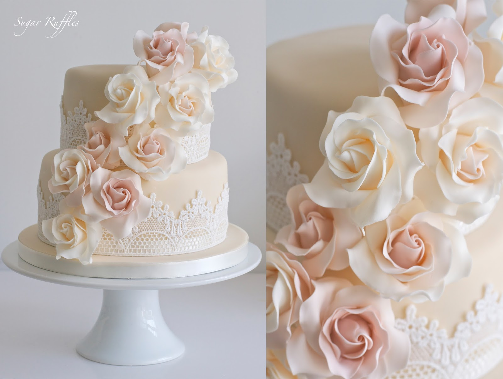 Low wood bay wedding cakes a 2 tier wedding cake with lace and cascading sugar roses junglespirit Image collections