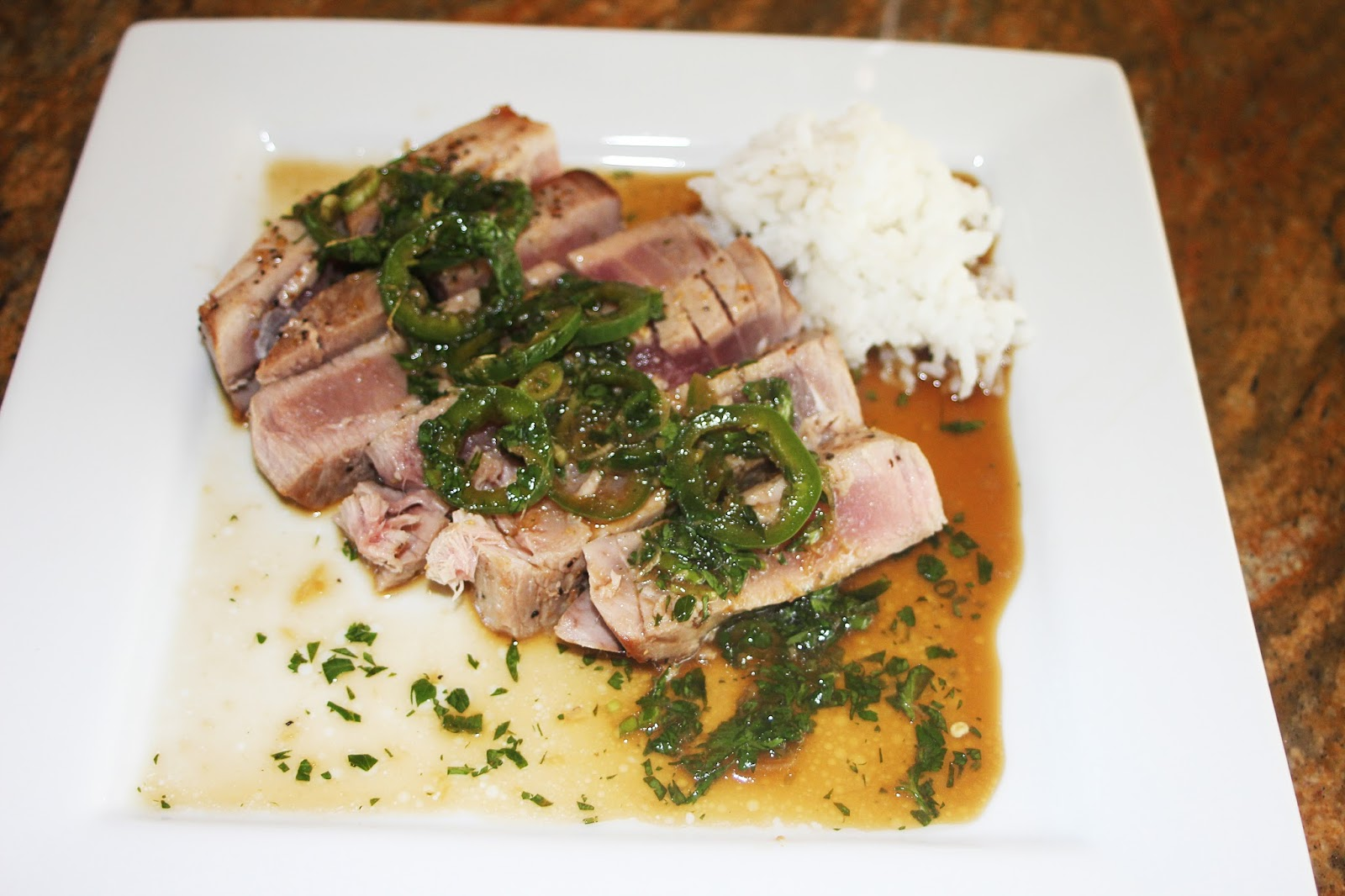 Pan Seared Ahi Tuna With Cilantro Scallion Jalapeño Soy Ginger Lime Sauce