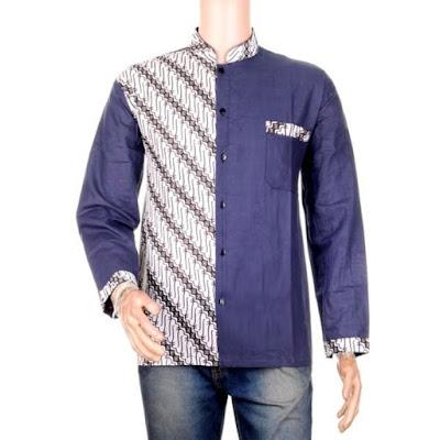 Kemeja Lengan Panjang Kombinasi Batik Mahendra