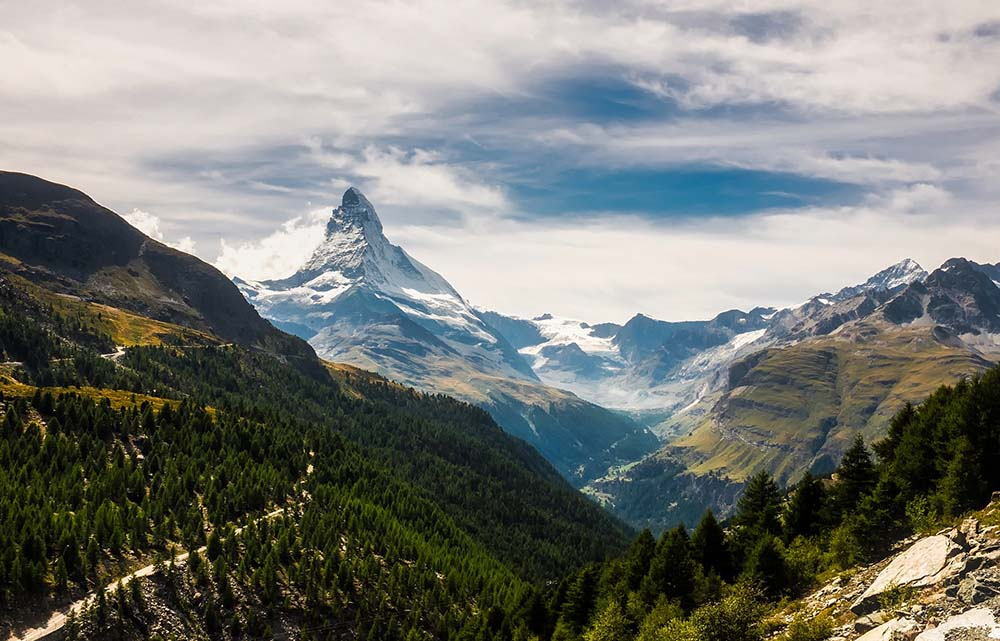 The iconic mountain holiday destination of Zermatt, Switzerland
