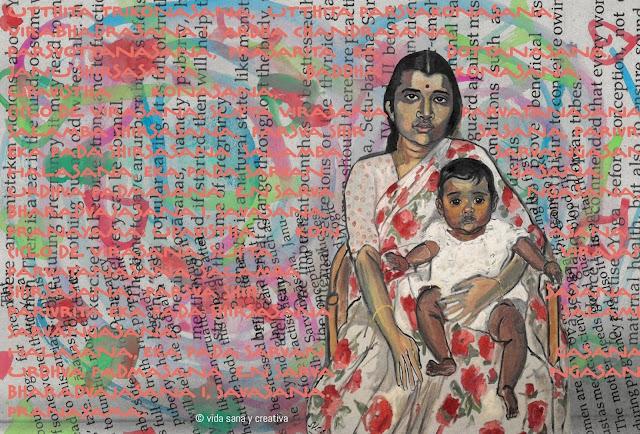Collage de Carmen Peralto. Yoga y embarazo. Vida sana y creativa