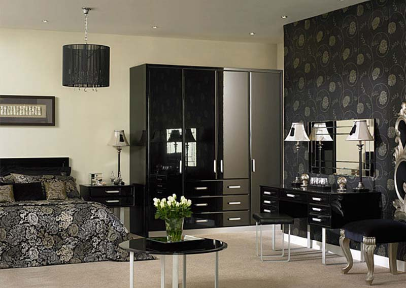 Furniture: black gloss bedroom furniture