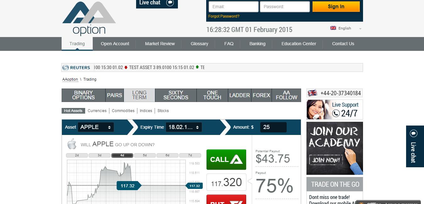 Aa options binary review singapore