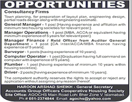 Accounts Jobs in Group Officers Cooperative Housing Society Islamabad