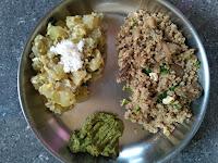 Kodo millet (Varagu) Brinjal rice, Ash gourd kootu, Coriander Chutney
