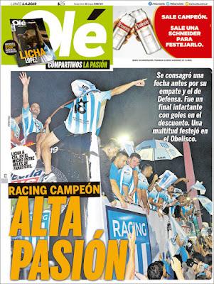 RACING CAMPEÓN SUPERLIGA 2018-2019 EN LA TAPA DE LOS DIARIOS