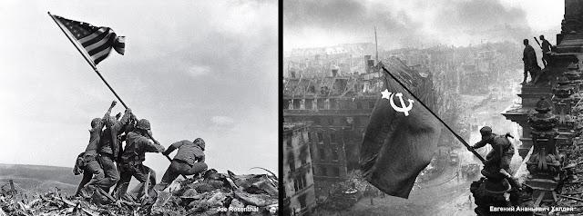flagi w Iwo Jima iw  Berlinie