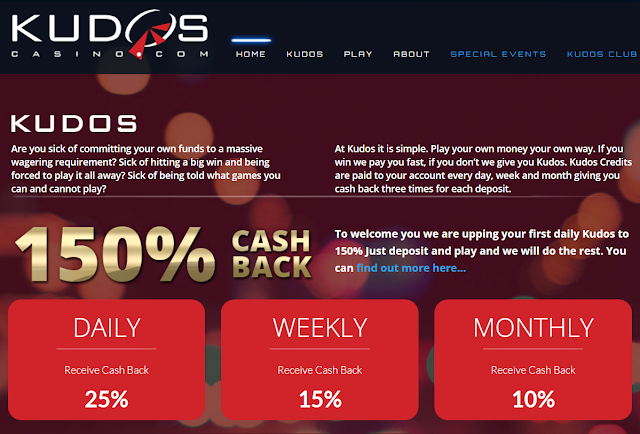 150% Cashback Welcome Offer | Same Day payouts | KUDOS Casino