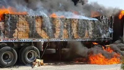 حادث إحراق الشاحنات