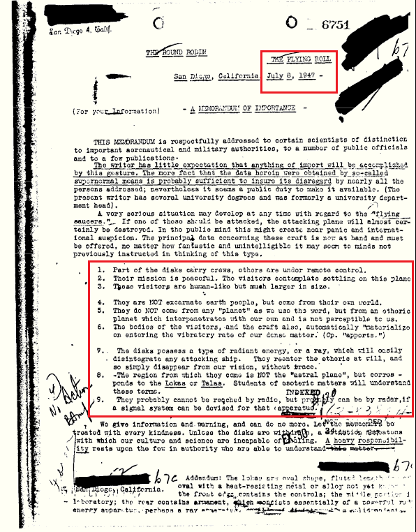 Documento desclasificado del FBI menciona a naves extraterrestres y sus tripulantes.