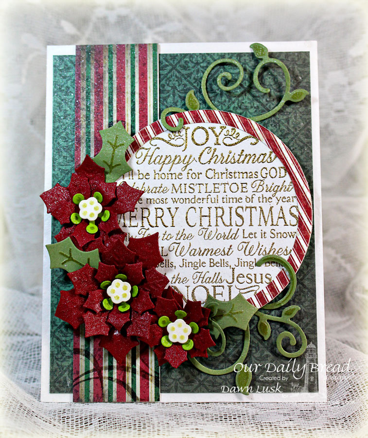 Stamps - Our Daily Bread Designs Noel Ornament, ODBD Custom Peaceful Poinsettias Dies, ODBD Custom Matting Circles Dies, ODBD Custom Fancy Foliage Dies, ODBD Custom Circle Ornaments Dies, ODBD Christmas Paper Collection 2013