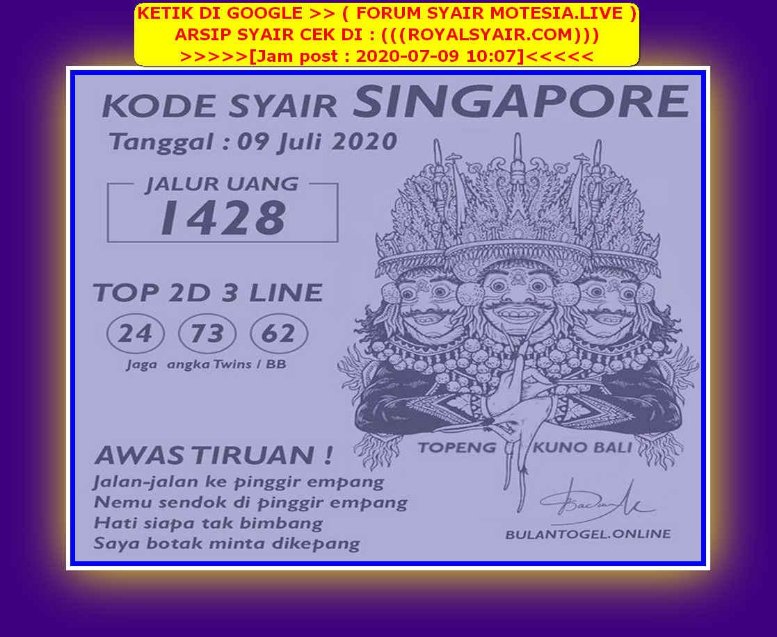 Kode syair Singapore Kamis 9 Juli 2020 110