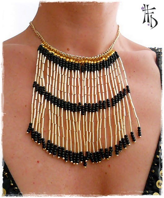 TRIBAL BEADS. Collar con flecos de miyuki / Miyuki fringed necklace
