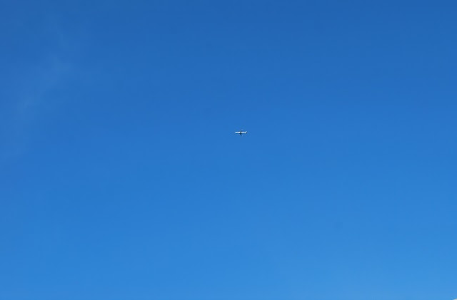 blue sky no clouds with airplane