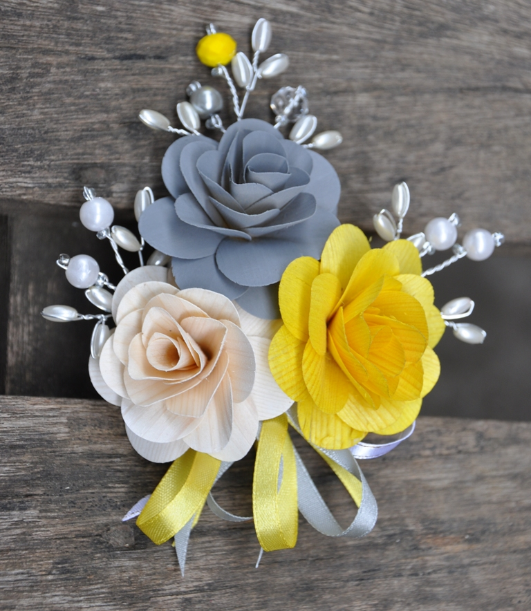 Yellow And Grey Wedding Flowers: Samples For Kate: Gray And Yellow Corsages For Weddings