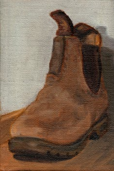 Oil painting of an old elastic-sided boot viewed at an acute angle with the toe facing the viewer.