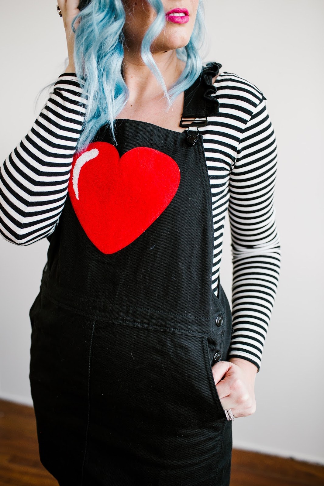 Heart overalls, striped bodysuit, long sleeve bodysuit