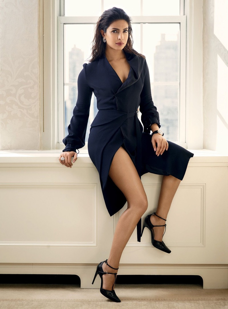 Priyanka flaunts some leg in Dior wrap dress and t-strap heels