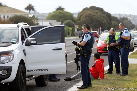 The man who was arrested - Armed police arrested a man in Te Awa Ave, Napier, after an incident in McGrath St, Napier. photograph