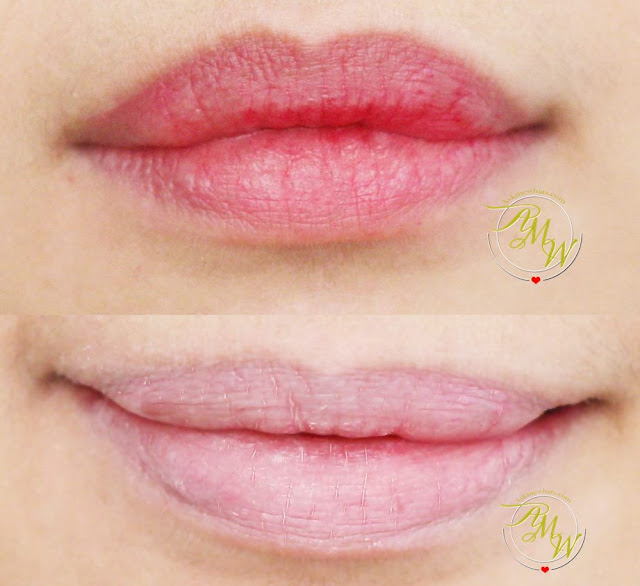 before and after photo using Tony Moly Face Mix Primer Lip Concealer