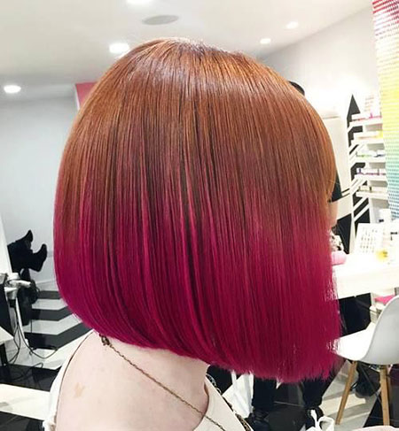 short hair ombre red