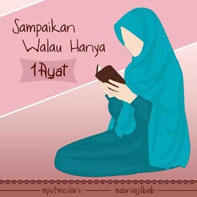 kartun muslimah membaca Alquran