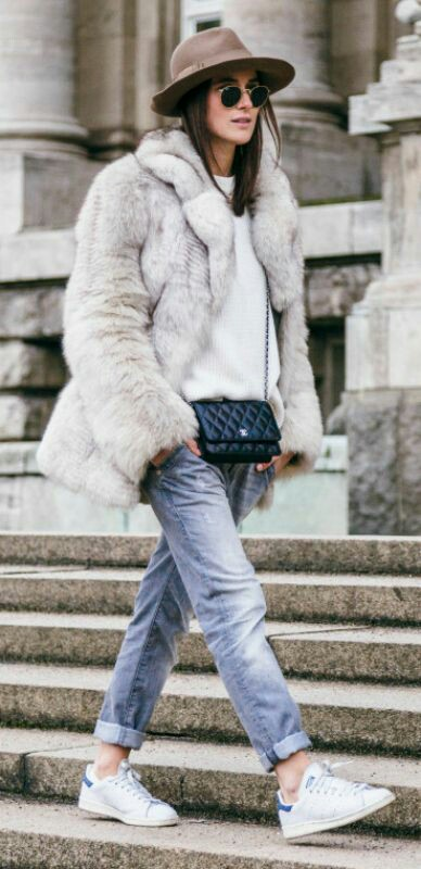 Faux coat with white shad jeans