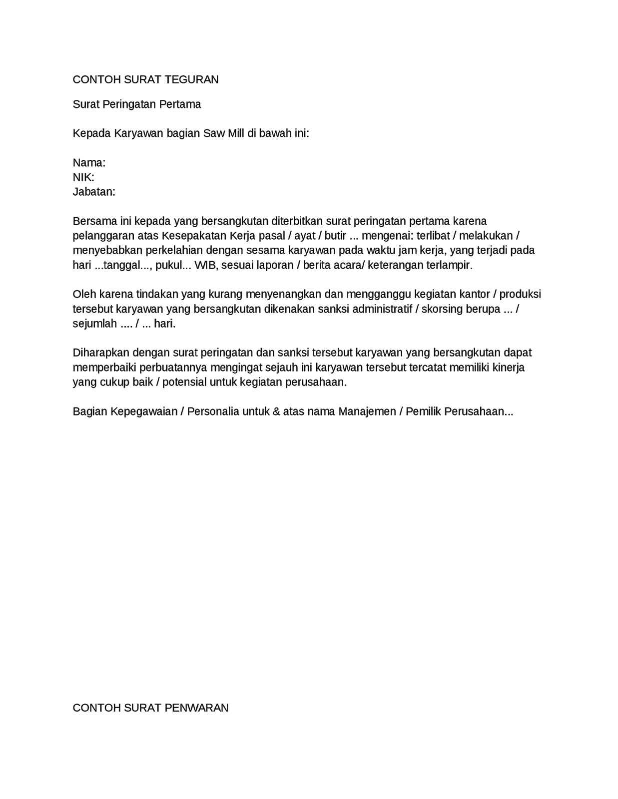 Contoh Surat Teguran Informasi Seputar Dunia Militer Dan