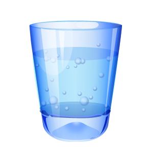 water in blue glass