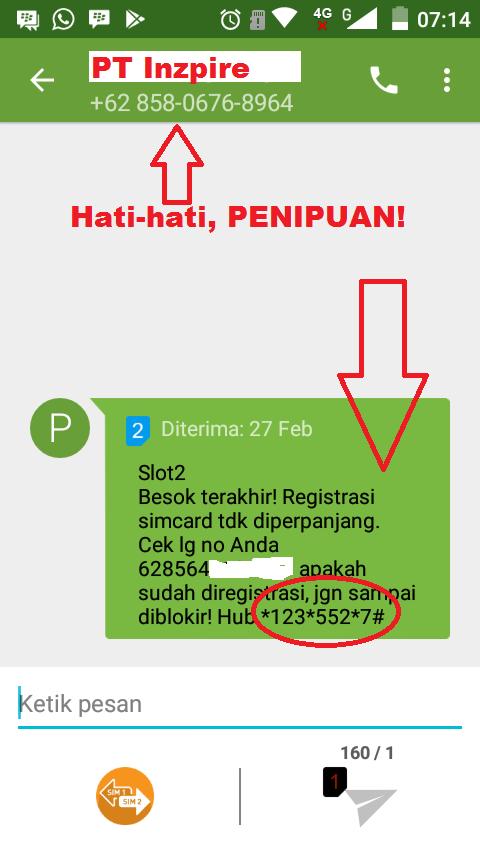 Hati-hati, Penipuan Registrasi Sim Card