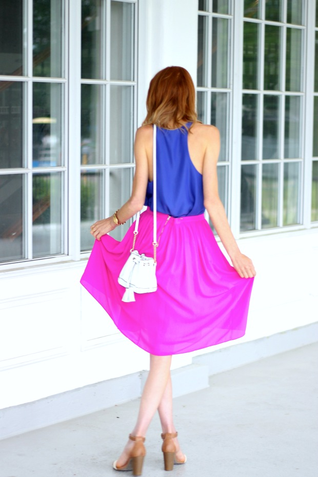 Magenta & Royal Blue for Summer; Rebecca Minkoff Lexi Micro Bucket Bag, Old Navy sandals