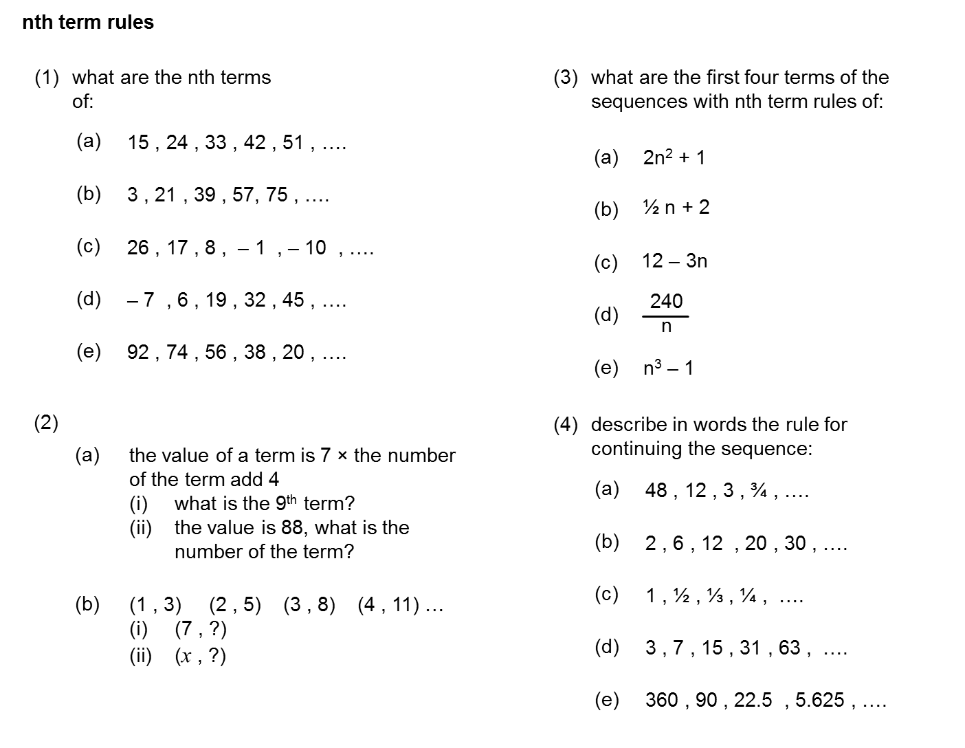 Median Practice And Quiz Questions Algebra Nth Term