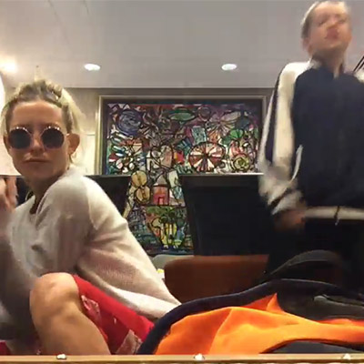 Kate Hudson and her son danced at the airport