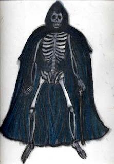 Imagem psicografada de Exu Caveira, mostra uma caveira alta e esguia, vestindo uma capa preta com capuz