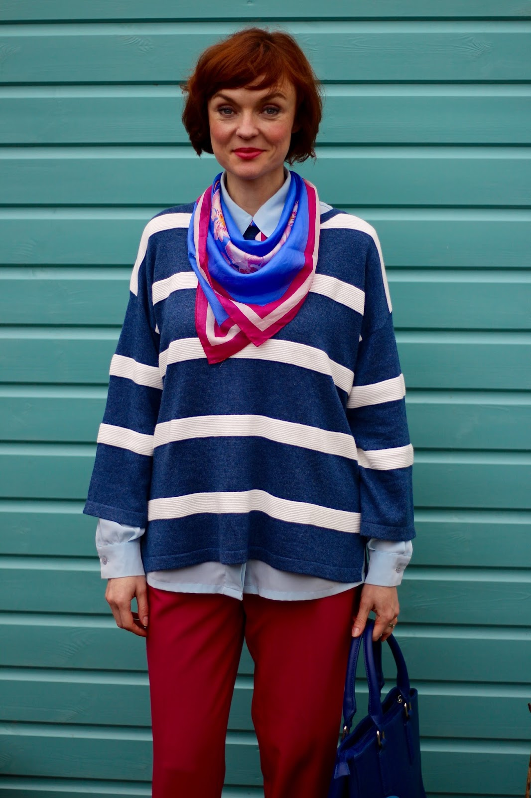 Bright Spring Look | Hot Pink Crops & Nautical Stripes! Fake Fabulous, over 40