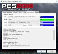 Settings.exe Only For Check Spesifications - PES 2018