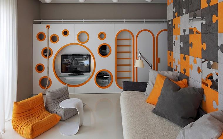 Kids Room Design Ideas Furniture In White Orange