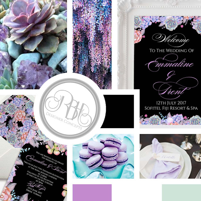 Lilac Purple & Mint Succulent Wedding Inspiration Mood Board by rbhdesignerconcepts