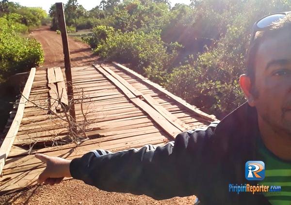 Moradores cobram conserto de ponte na zona rural de Piripiri