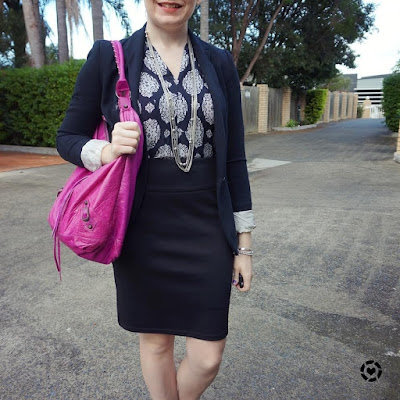 awayfromblue instagram office suit separates pencil skirt and dress worn as a top pink bag