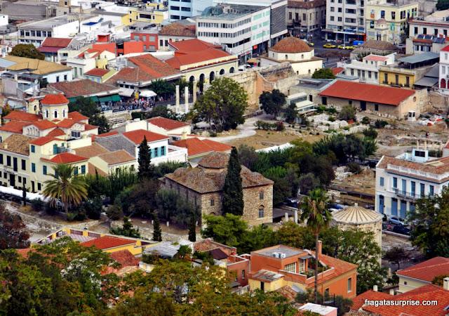 A Ágora Romana de Atenas vista da Acrópole