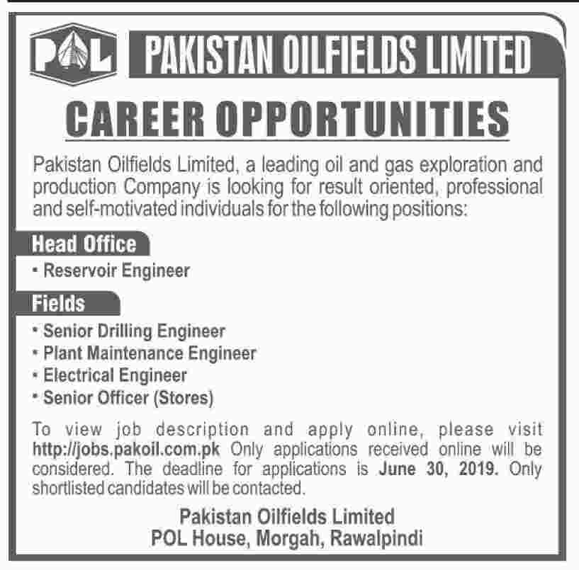 Pakistan Oilfields Limited Jobs For Reservoir Engineer, Senior Drilling Engineer and Others Jobs 2019