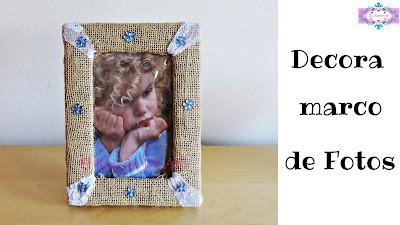 decora un marco de fotos con tela de saco o yute